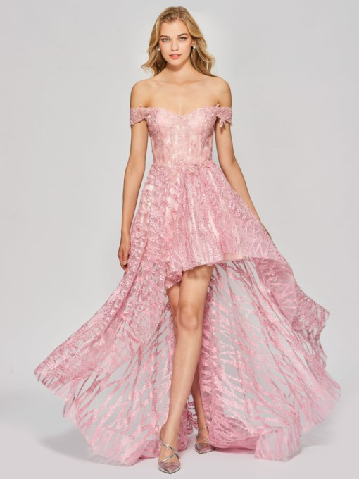 A-Line Lace Appliques Off-the-Shoulder Asymmetry Prom Dress