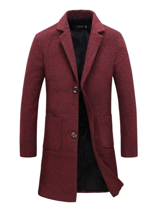 Notched Collar Double Button Pocket Solid Color Slim Men's Woolen Coat