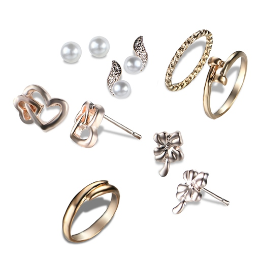 Heart Design Hollow Out Pearl Overgild Earrings&Rings Jewelry Sets