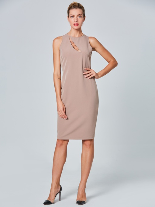 Khaki Sleeveless Women's Sheath Dress