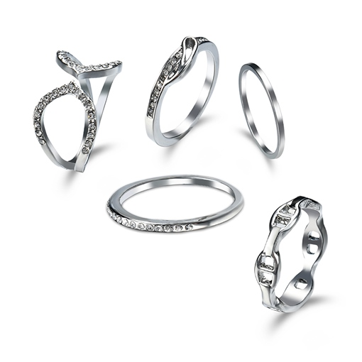 S925 Alloy Diamante Hollow Out Ring