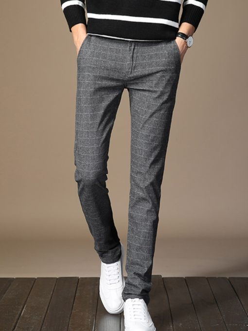 Plain Straight Slim Men's Casual Pants