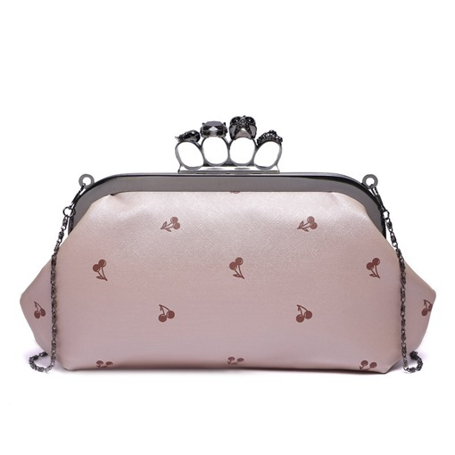 Cherry Printing Ring Clip Evening Clutch