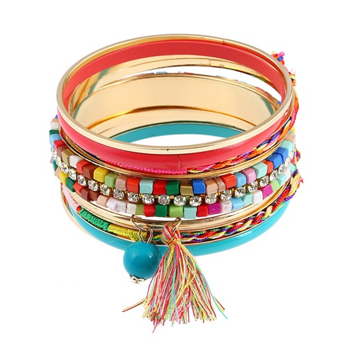 Alloy Tassel Diamante Colorful Color Block Bracelet