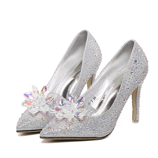 Rhinestone Slip-on Closed Toe Women's Prom Shoes (Plus Size Available)