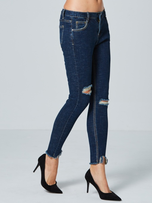 Skinny Low-Waist Hole Pocket Women's Jeans