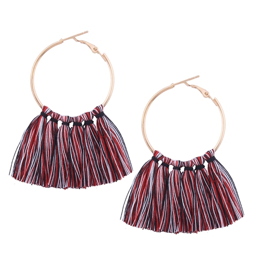 Alloy Buckle Solid Color Simple Tassel Earrings