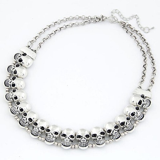 Skeleton Alloy Metal Vintage Torques Choker Halloween Necklace