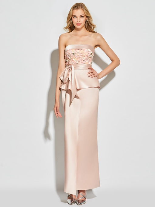Strapless Appliques Bowknot Sheath Ankle-Length Evening Dress