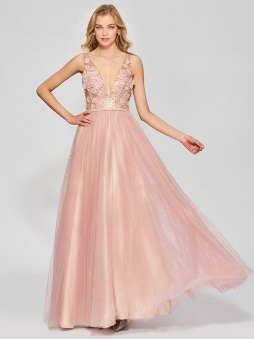 A-Line Backless Appliques Sleeveless Floor-Length Prom Dress
