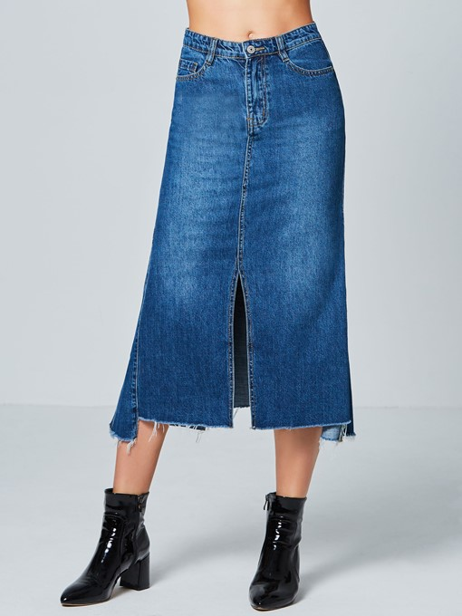 Plain Mid-Calf Pocket Split Women's Skirt