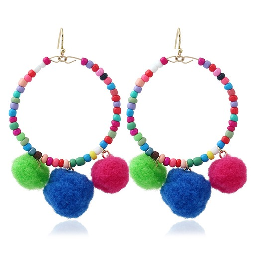 Colorful Beads Fuzzy Ball Alloy Pom Pom Earrings