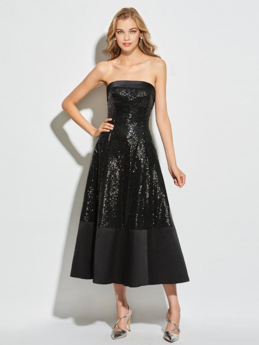 Strapless A-Line Sequins Tea-Length Cocktail Dress