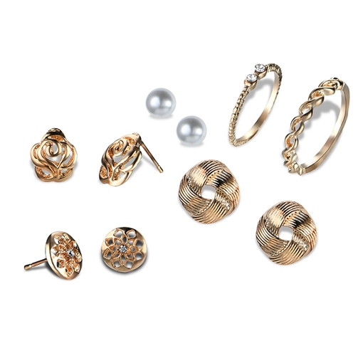 Overgild Alloy Hollow Out Pearl Diamante Earrings&Rings Jewelry Sets