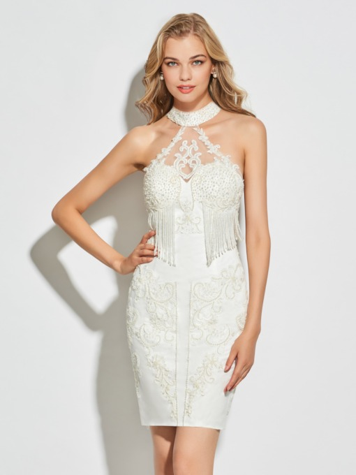 Button High Neck Tassels Appliques Cocktail Dress