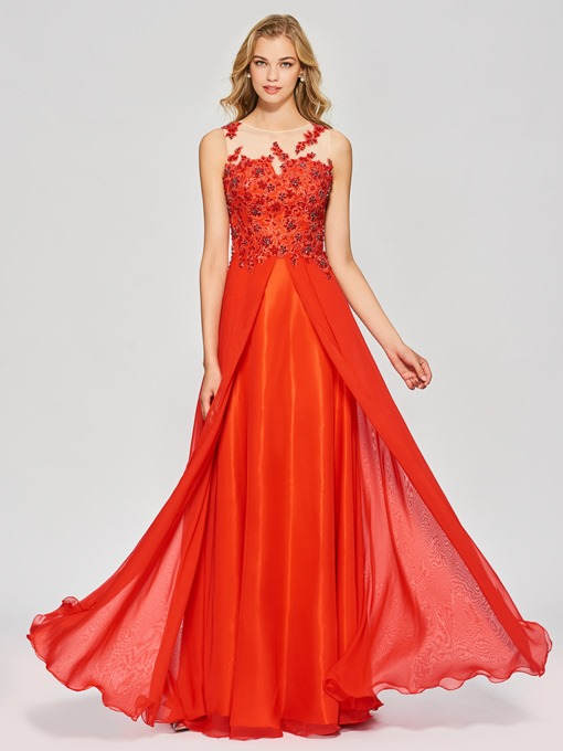 A-Line Appliques Beading Button Bateau Floor-Length Prom Dress