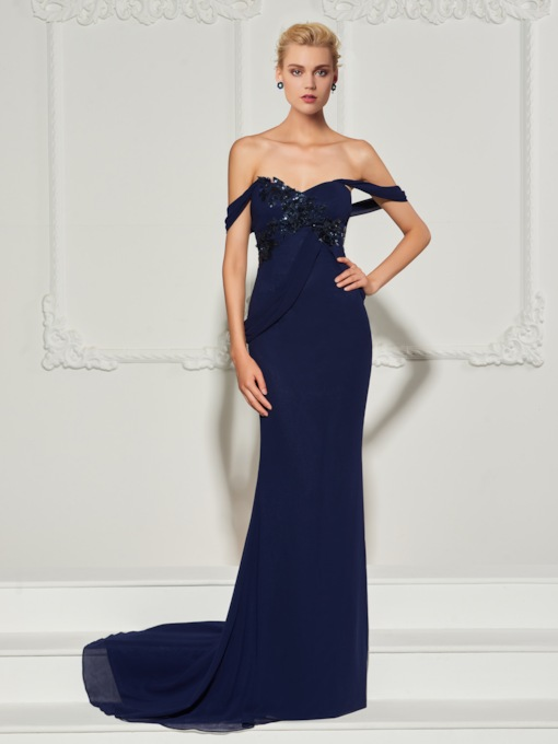 Appliqures Off-the-Shoulder Sheath Floor-Length Evening Dress