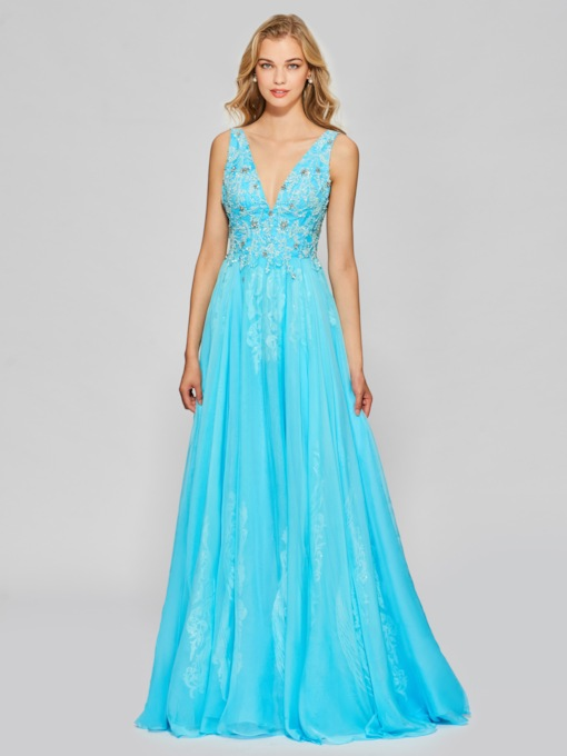 A-Line Appliques Beading Floor-Length Prom Dress