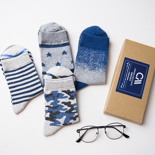 Mixed Pattern Blue Adult Crew Socks for Male 4 Pairs