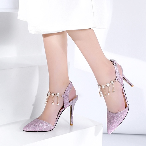 Pointed Toe Fringe Rhinestone Sandals Ankle Strap Shoes for Women