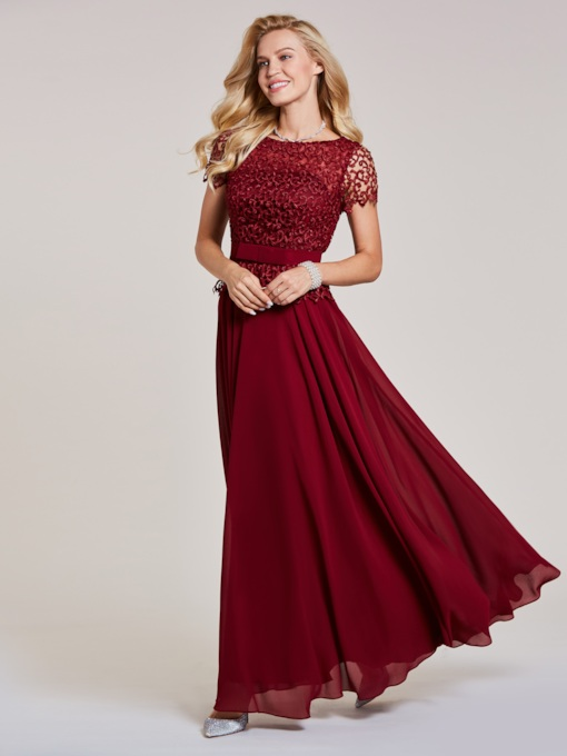 Scoop Neck Short Sleeves Lace Evening Dress