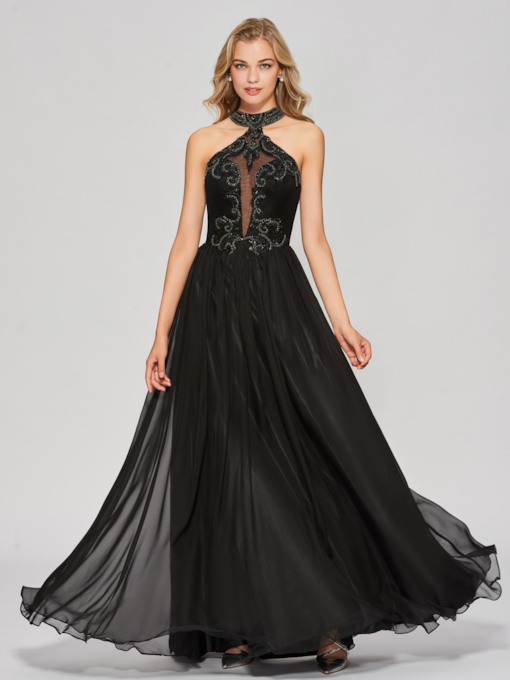 A-Line Appliques Beading Backless Jewel Floor-Length Prom Dress