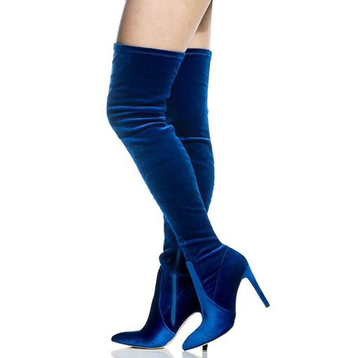 Blue Velvet Ulta High Heel Side Zipper Women's Tight High Boots