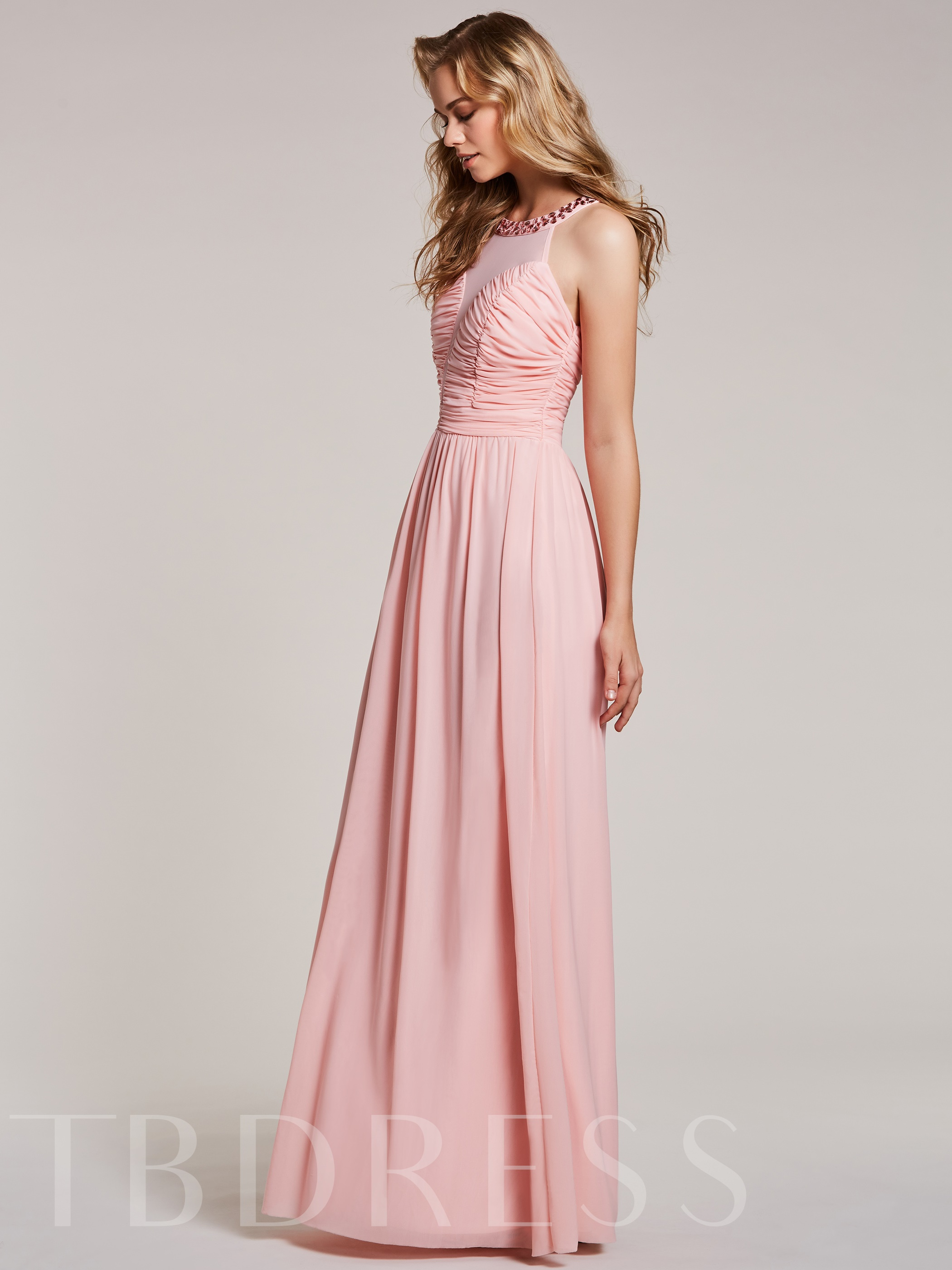 Image of A Line Scoop Neck Beaded Pleats Prom Dress