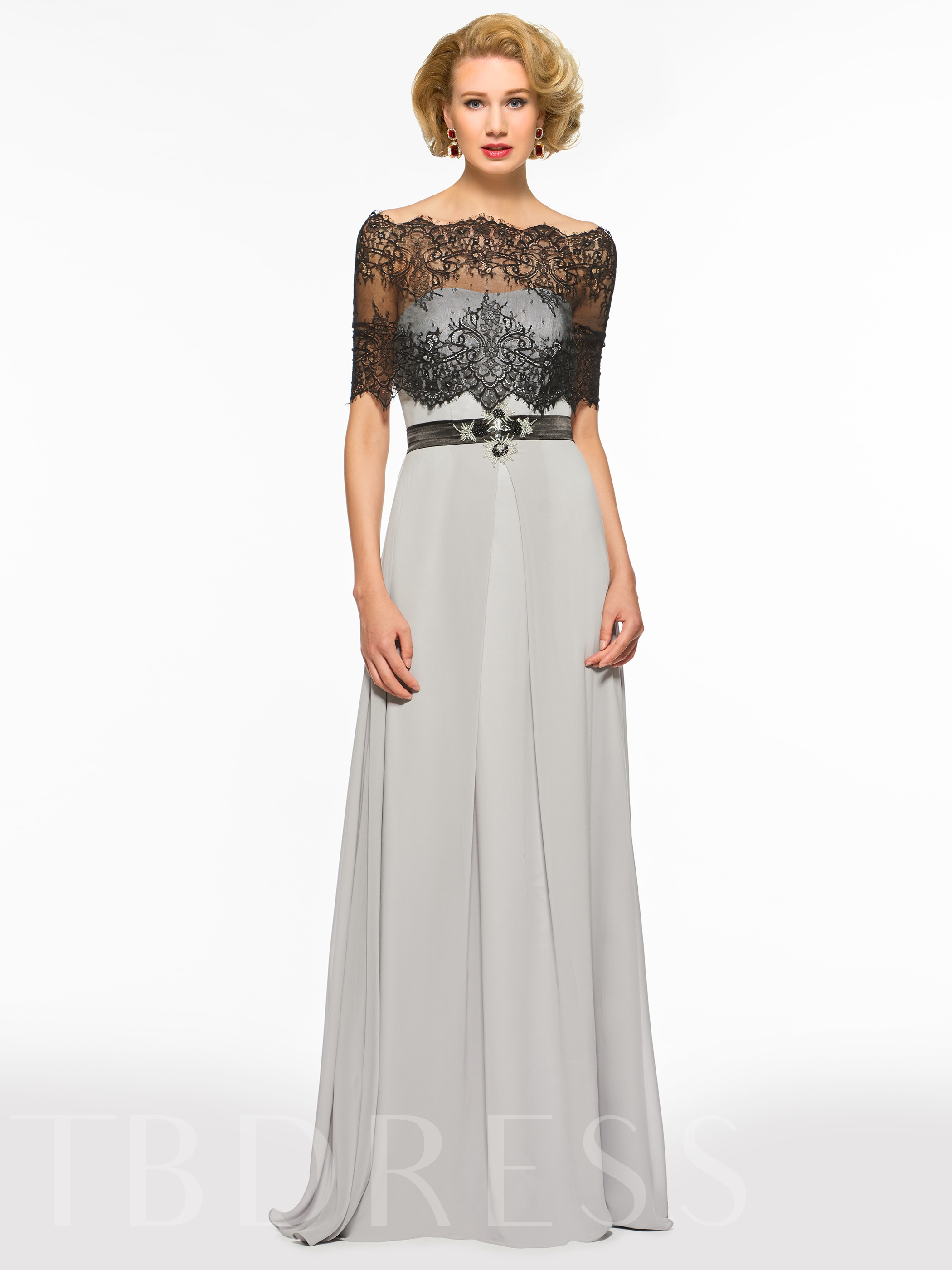 Image of A-Line Mother of the Bride Dress with Lace Shawl