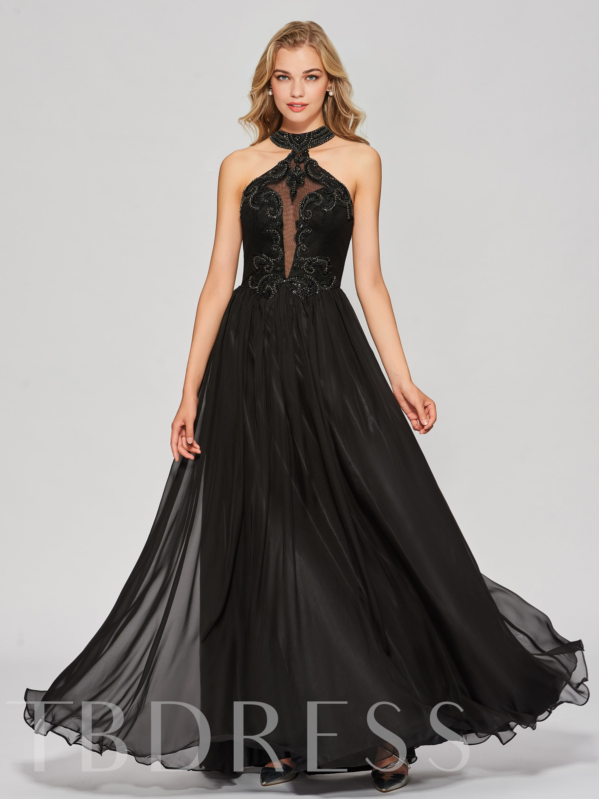 Image of A-Line Appliques Beading Backless Jewel Floor-Length Prom Dress