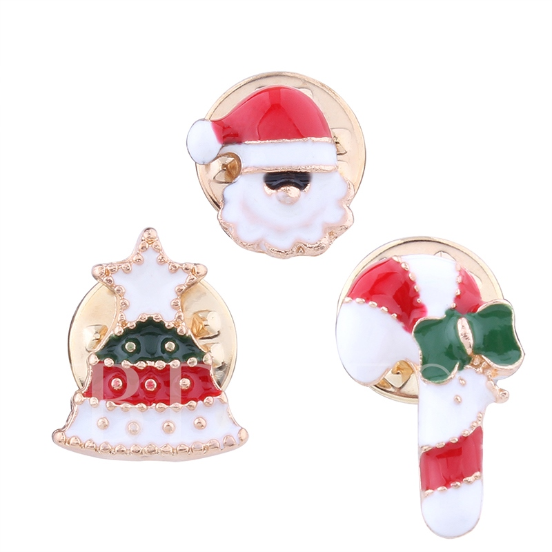 Cute Crutches Diamante Trees Santa Claus Christmas Combination Women's Brooches