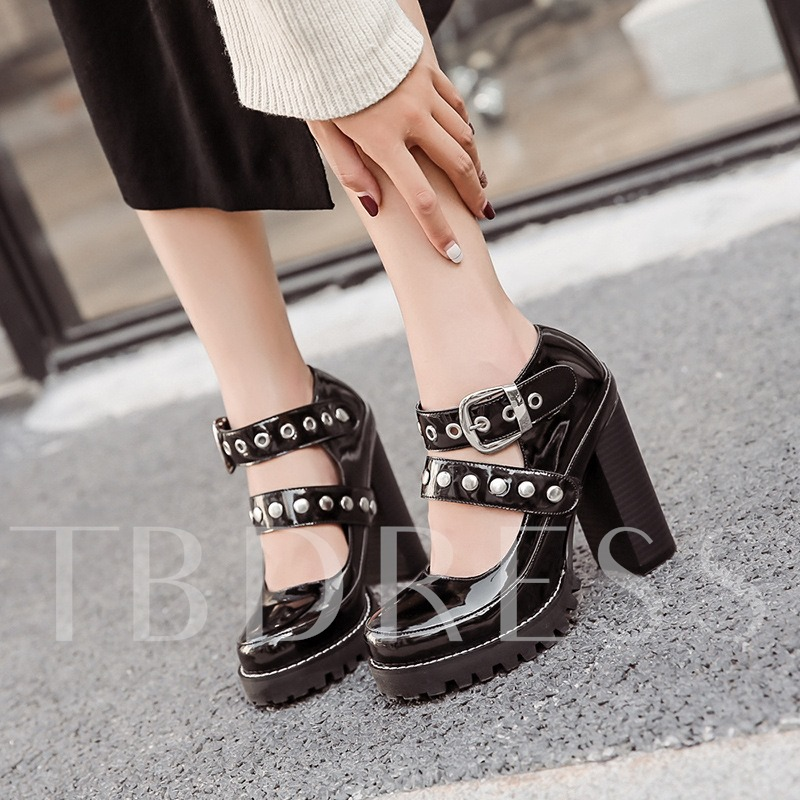 Metallic Shoes Solid Patent Leather Platform Chunky Heel Pumps for Women