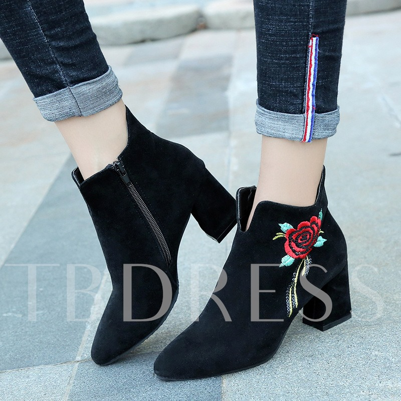 Floral Suede Zipper Women's Chunky Heel Black Embroidered Ankle Boots