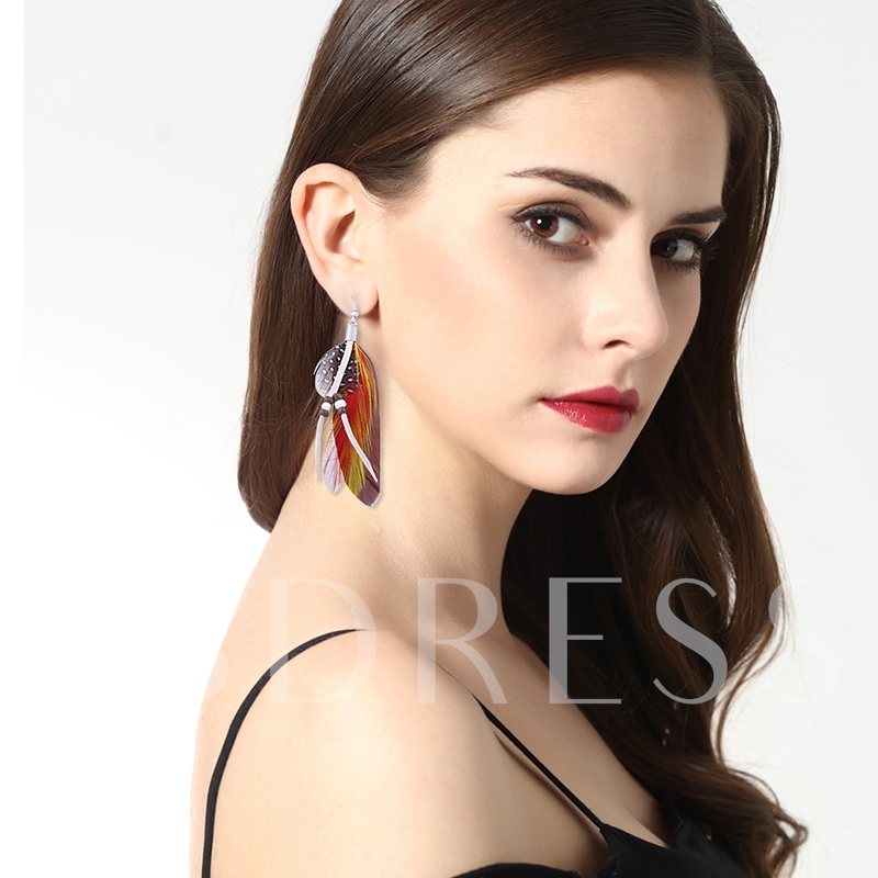 Beads Alloy Feathers Colorful Hot Sale Earrings