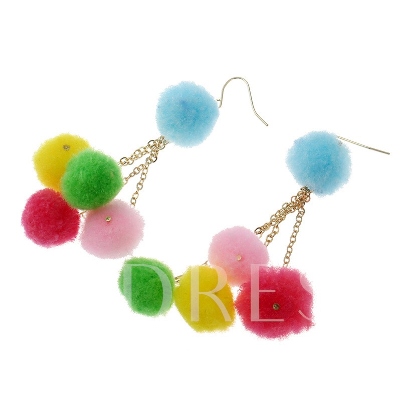 Fuzzy Ball Pendant Alloy Vintage Pom Pom Earrings