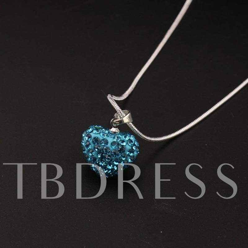 Full Drill Snake Chain Heart Shaped Alloy Necklace