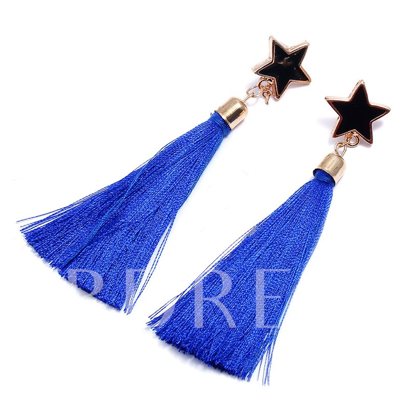 Oil Drip Pentagram Alloy Hot Selling Tassel Earrings