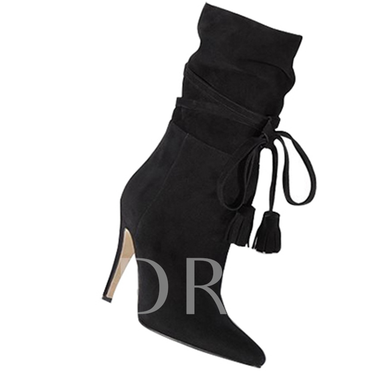 High Heel Fringe Lace Up Front Women's Ankle Boots