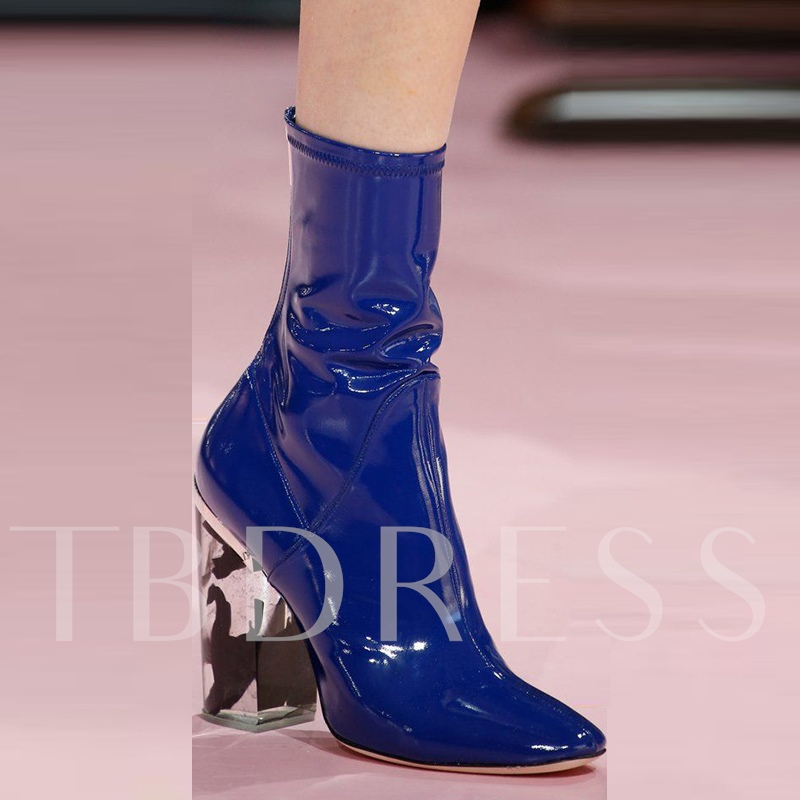 Patent Leather Zipper Chunky Heel Women's Blue Boots