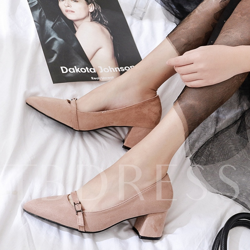 Pointed Toe Suede Chunky Heel Women's Pumps Shoes