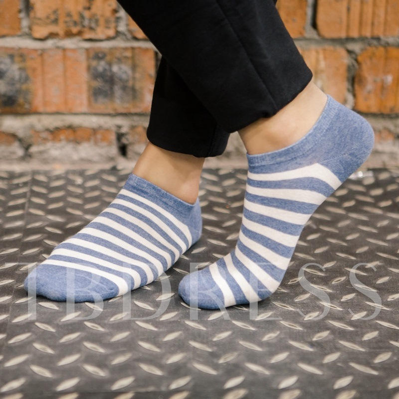 Strip Light Blue Mixed Pattern Warm Socks for Male 4 Pairs