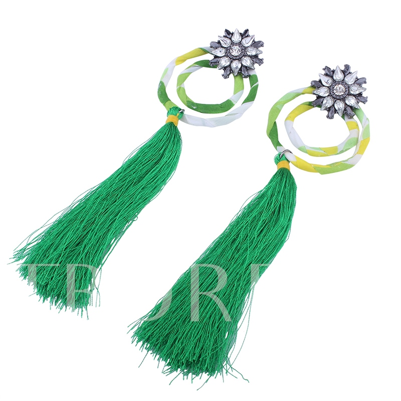 Cotton Rhinestone Double Circle Tassel Earrings