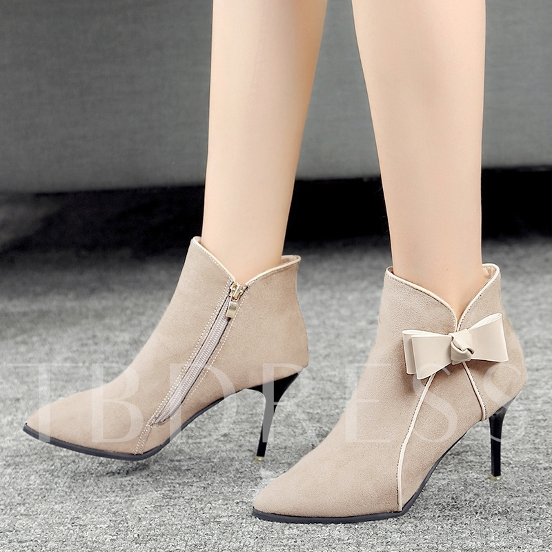 Bow Side Zipper Patchwork Women's Ankle Boots for Women