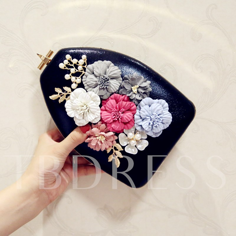 Vase Shape Floral Adornment PU Clutch