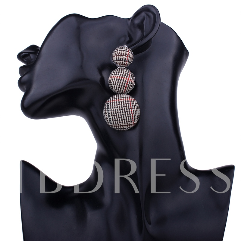 Alloy Button Cotton Cloth Plaid Round Earrings