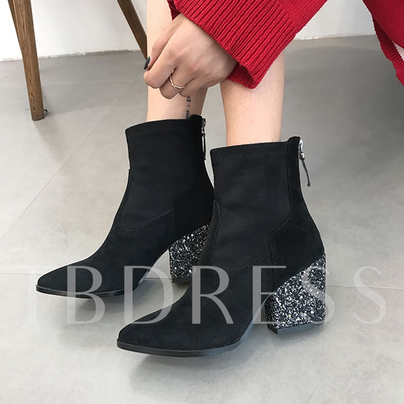 Black Ankle Boots Chunky Heel with Sequins Women's Shoes