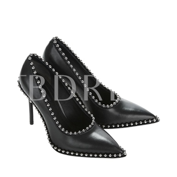 Black Leather Pumps High Heel Beads Purfle Women's Shoes