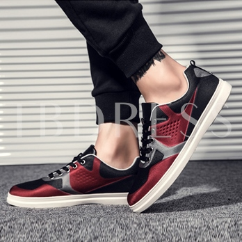 Color Block Lace Up Rubber Sole Skidproof Skater Shoe for Men