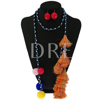 Ethnic Color Rope Pompon Tassel Jewelry Sets