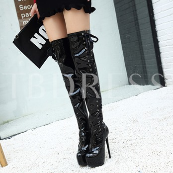 Side Cross Strap Zipper Patent Leather Platform Women's Black Thigh High Boots
